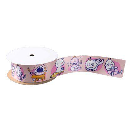 cute funny cartoon new baby girl satin ribbon - newborn baby gift idea diy cyo personalize family