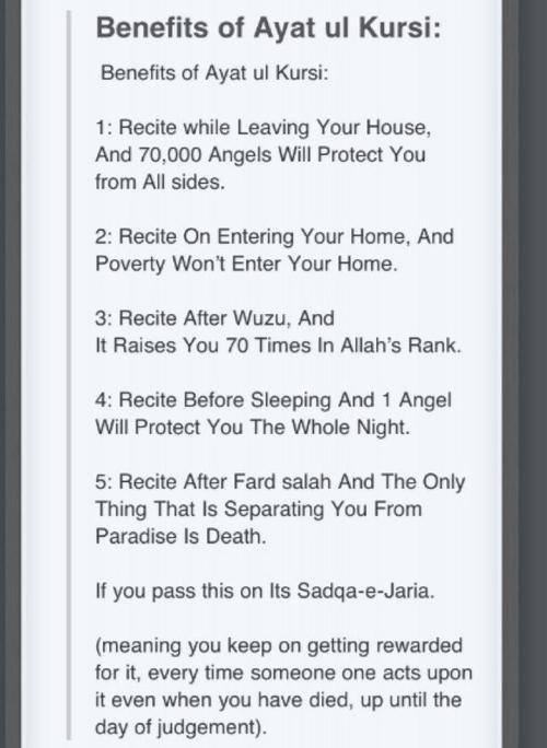 Benefits of the amazing Ayat-al-Kursi.