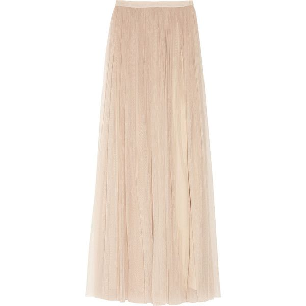 Mulberry Tulle and silk maxi skirt ($685) ❤ liked on Polyvore featuring skirts, bottoms, saias, maxi skirts, long skirts, pink pleated skirt, long tulle skirt, long pleated skirt and floor length tulle skirt