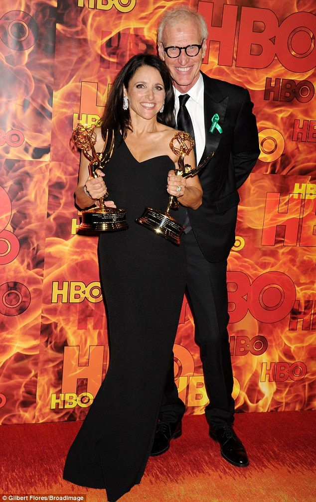 All the gongs! Julia Louis-Dreyfus showed off her VEEP gongs as she put on a stylish dispa...