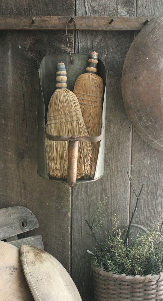 Primitive Early Homestead Look Metal Farm Scoop w/Vintage Whisk Brooms