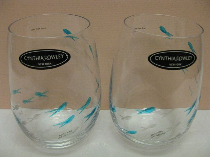 Cynthia Rowley Wine Glasses Stemless Drinking Blue Etched Fish Glass 2pc Wine Glasses Id Wine Glasses For Sale Printed Wine Glasses Wine Glasses
