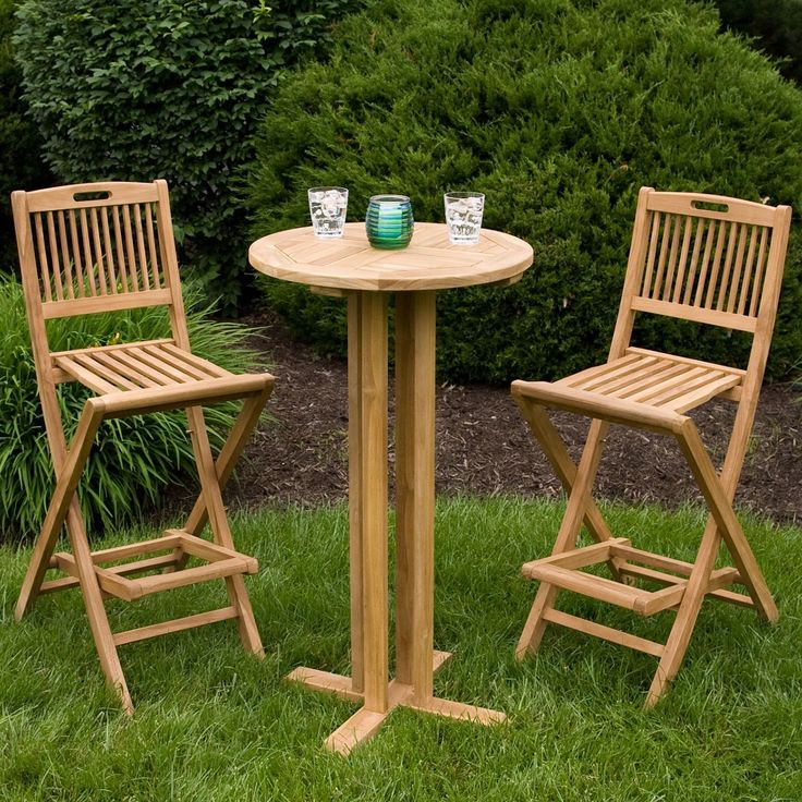 3 Piece Teak Outdoor Pub Set Bar FurnitureOutdoor