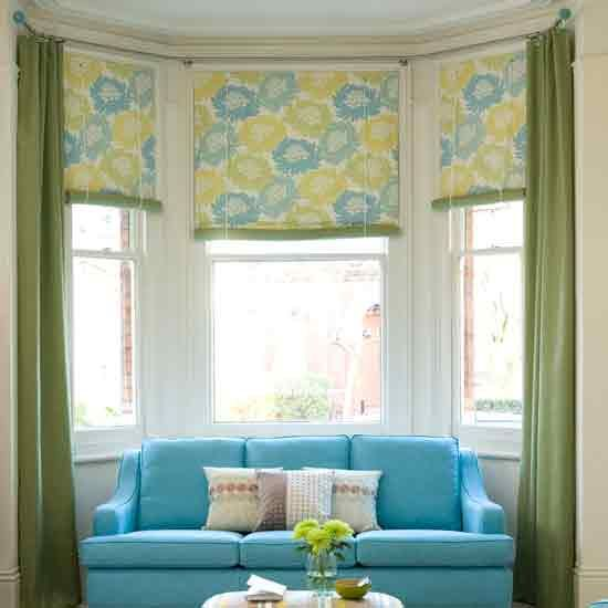 Bay window curtains home decor pinterest bay window for Roman shades for bay windows
