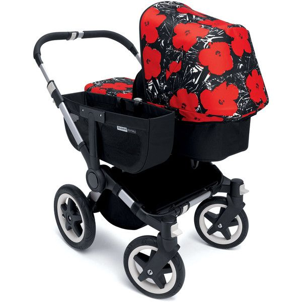 Bugaboo Andy Warhol Donkey Flowers Tailored Fabric Set (3,530 MXN) ❤ liked on Polyvore featuring black red and kids gear strollers