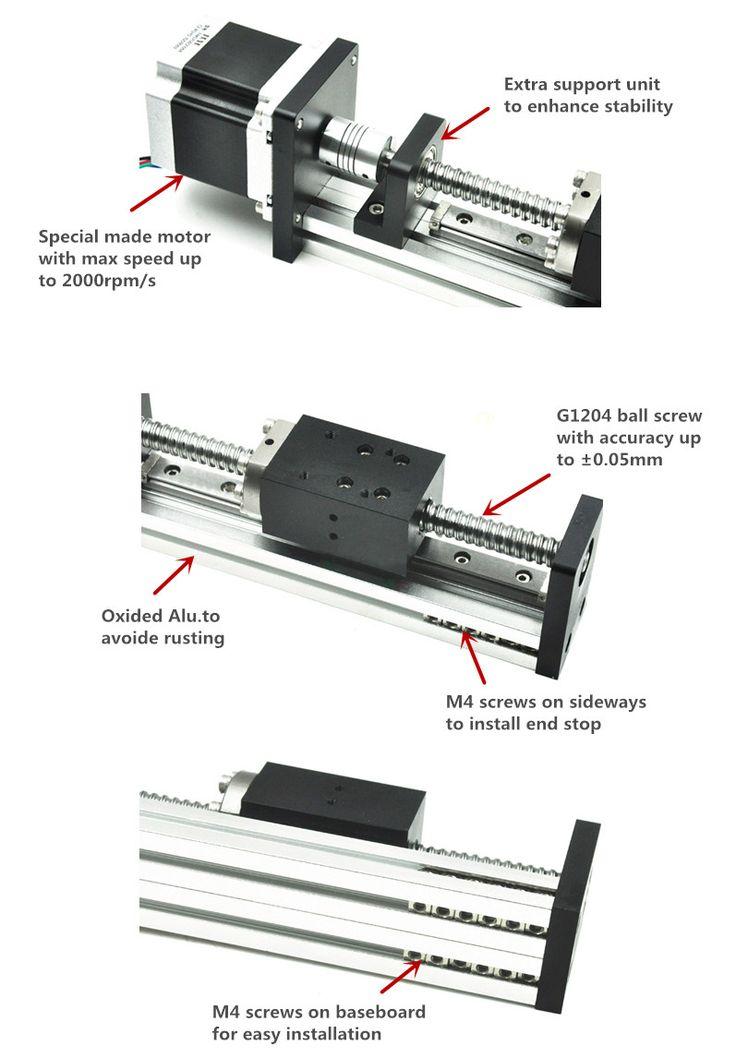 Бесплатная Доставка oem низкой цене 40 мм широкий 150 мм длина линейной направляющей с двигателем и шариковый винт для cnc купить на AliExpress