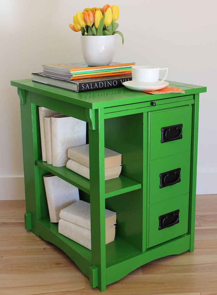 Superb Upcycled Kelly Green End Table U003c3 ...