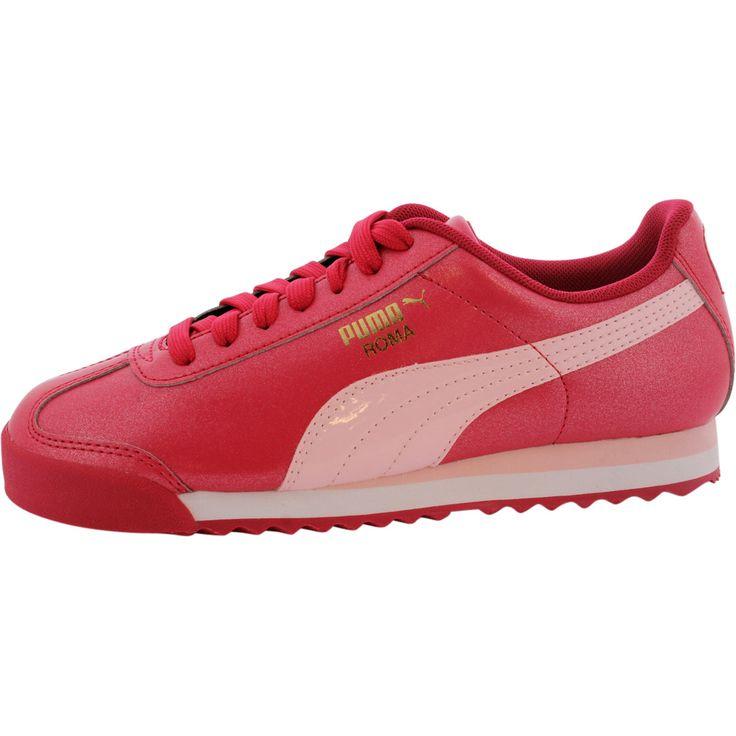 Puma - Girls' Roma Basic Glitter Lifestyle Sneaker (Little Kid) - Rose Red/White
