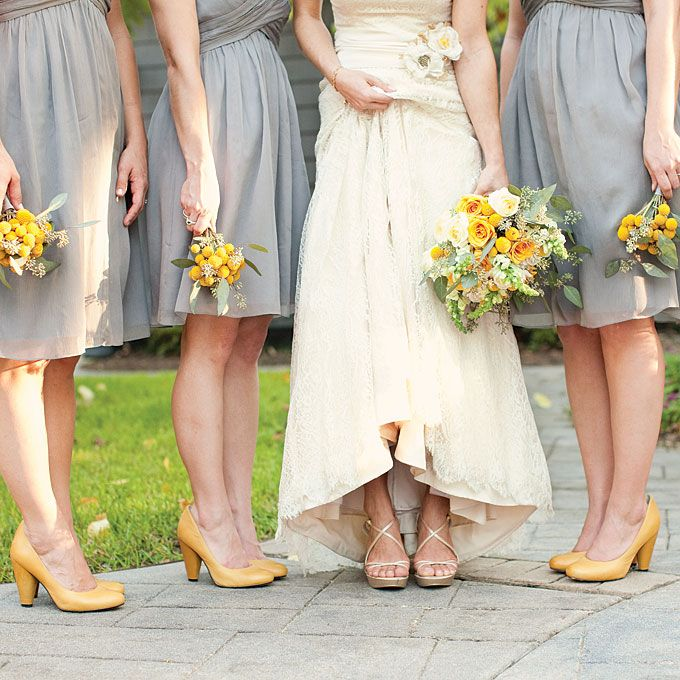 Grey Bridesmaid Dresses With Yellow Shoes