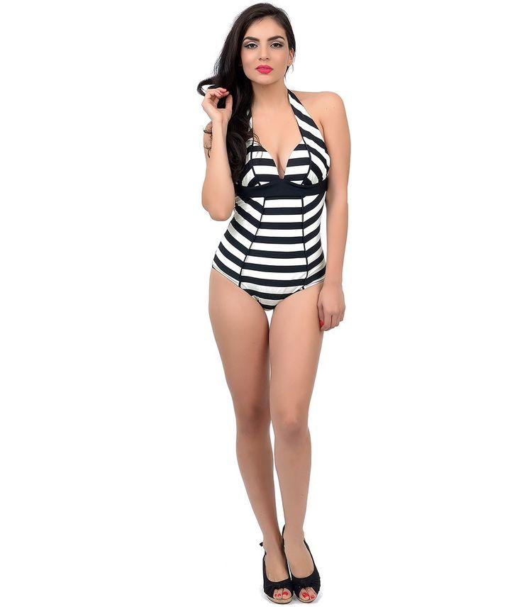 Audrey Black & Ivory Striped One-Piece #Vintage Swimsuit #uniquevintage