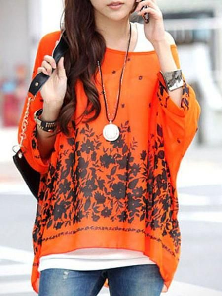 LadyIndia.com # Fashion Trend, New Fashion Style Tops Casual Flower Print Orange Chiffon Blouse Top, Designer Top, Fashion Trend, Tops, Women Wear, Girls Tops, https://ladyindia.com/collections/western-wear/products/new-fashion-style-tops-casual-flower-print-orange-chiffon-blouse-top