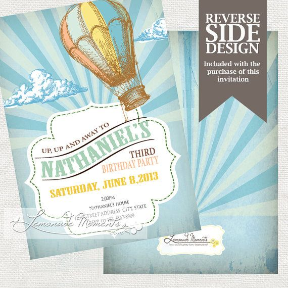 Hot Air Balloon Party Invitation Printable By LemonadeMoments, $19.99