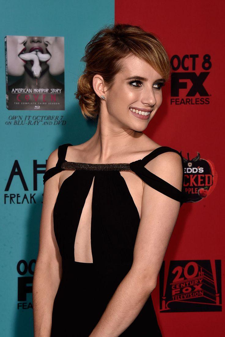 Emma Roberts make-up at the AHS premiere is just beautiful, dark smokey eye, nude lip and satin skin.