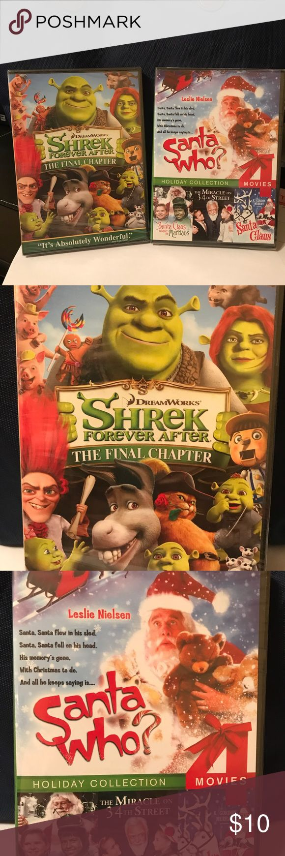🎄Two Christmas DVD's🎄 The DVD's up for sale are unopened and have never been used.  The DVD's are:  Shrek Forever After - The Final Chapter Santa Who Santa Claus Conquers the Martians Miracle on 34th Street Santa Claus Other