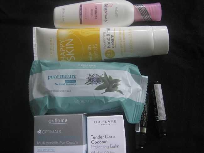 #essentials fairness lotion, #happyskin hand and nail cream, #purenature tea tree soap bar, #tendercare, 2 #veryme mascara plus eyeliner and my fav stuff #optimals eye cream by #oriflame <3