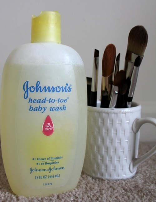 Clean your makeup brushes with baby soap.