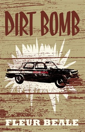 Dirt Bomb, by Fleur Beale. Jake's got no money and doesn't have a mobile, but he's got two best mates; Buzz and Robbie. Buzz is generous, buying stuff for his mates. Jake wouldn't change a thing. But the boys plab to rescue a  wrecked car and turn it into a paddock basher. Yes! Buzz, however, says he's not paying for it all. Even stevens or no deal. Robbie gets a job, Jake refuses - it's not his style to work! He needs a game plan.