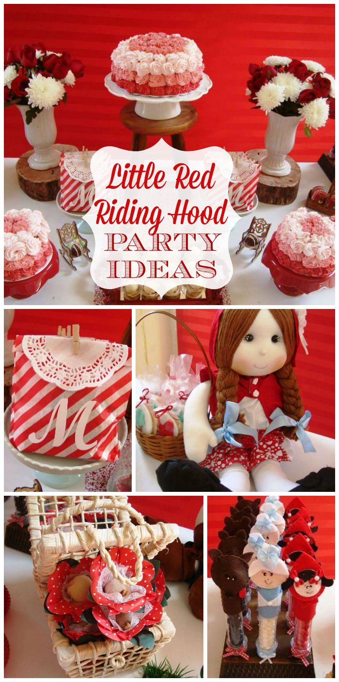 An adorable Little Red Riding Hood party with an ombre rosette cake and pretty decorations!  See more party planning ideas at CatchMyParty.com!