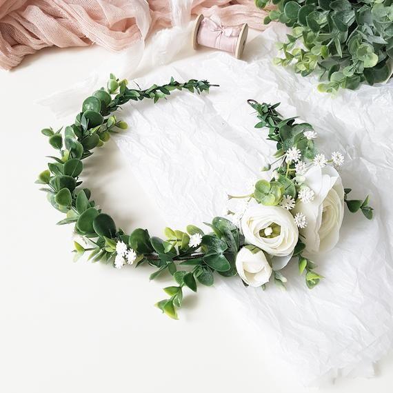 Greenery Headpiece Bridal Greenery Crown Greenery White Etsy Rustic Wedding Flowers Flower Crown Wedding Flower Crown