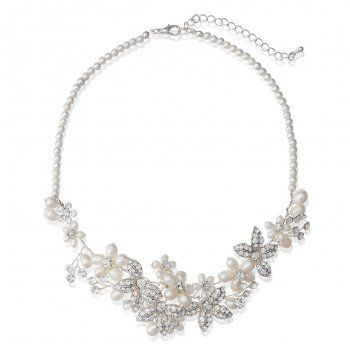 Alan Hannah Devoted Freshwater pearl and crystal spray necklace