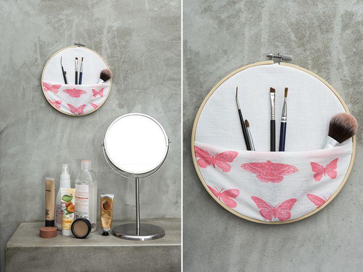 Tutoriel DIY: Fabriquer un rangement pour pinceaux de maquillage à partir d'un cercle à broder via DaWanda.com