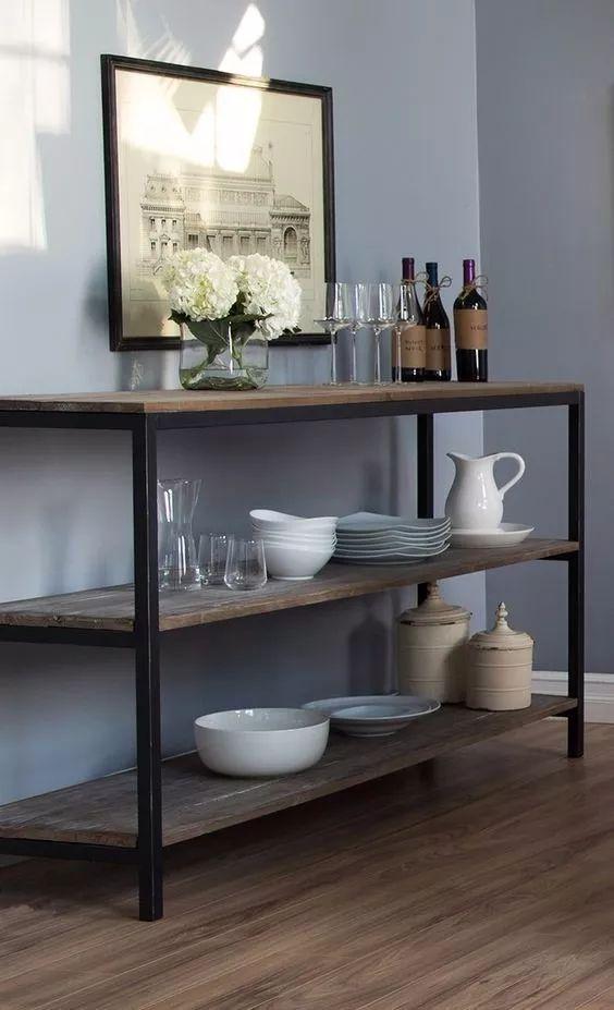 mesa de arrime - auxiliar, estilo industrial hierro y madera