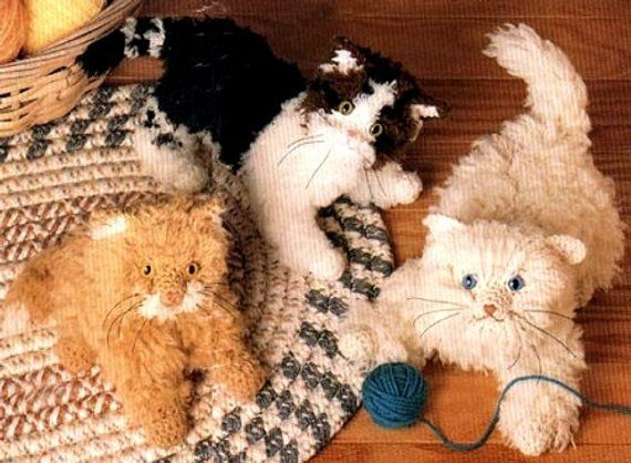 Vintage Crochet Pattern Booklet Three Little Fluffy Kittens Etsy Crochet Cat Toys Crochet Cat Pattern Crochet Cat