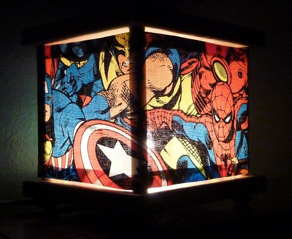 Superhero Lamp Spiderman Night Light Lantern by babymamma1 on Etsy  i'm totally gonna try to make this for jr's room!