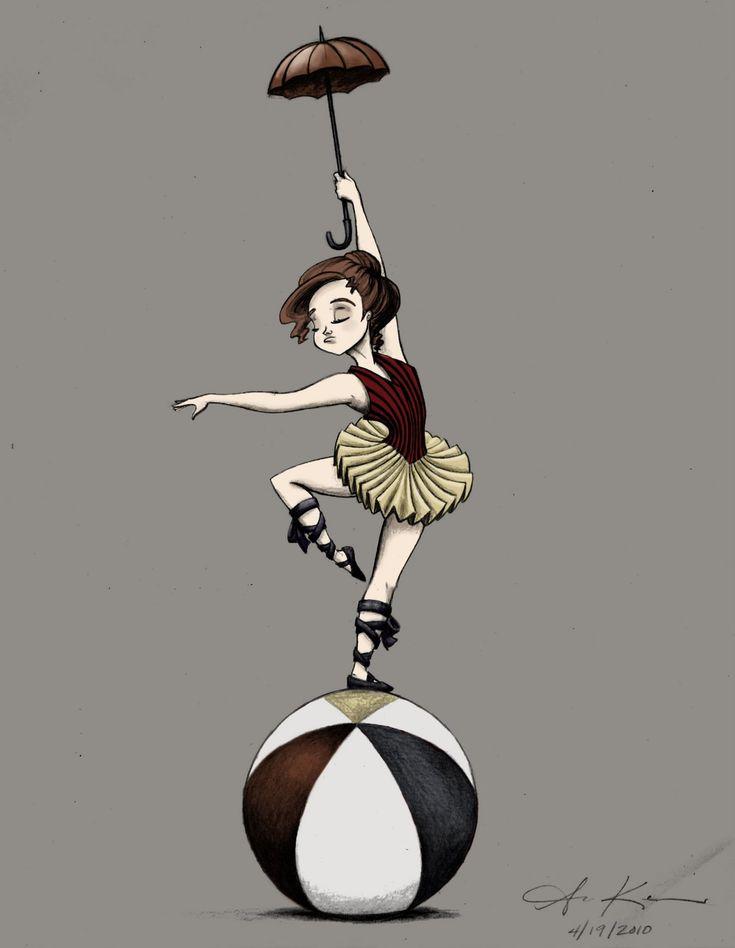 Artwork by Amber C. Kenneson: Circus: acrobat, balancing act (color)