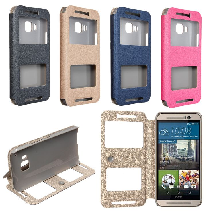 Dual View Window Flip PU Leather Stand  Cover Case For HTC One M9