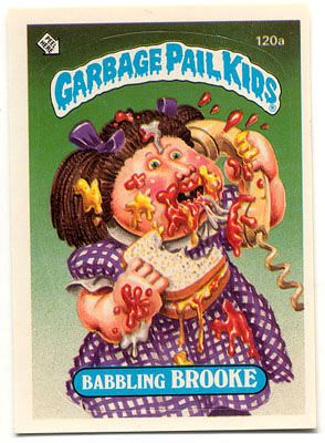 Garbage Pail Kid trading cards. What the hell was wrong with kids in the 80s to think these were cool? So nasty. I personally dont recall having any of these myself but my friends did