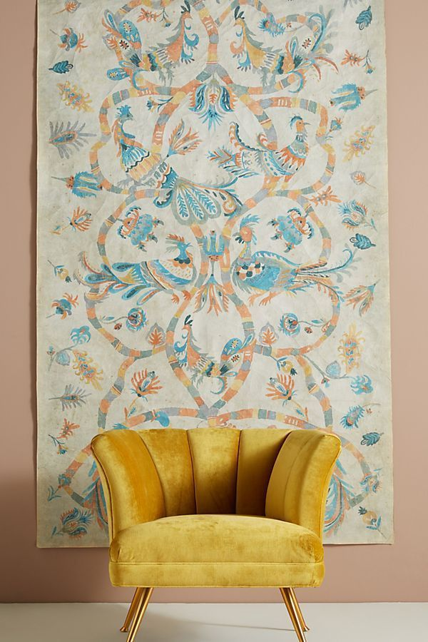 New Anthropologie Home Decor Lily Birds Folk Art Paper Tapestry