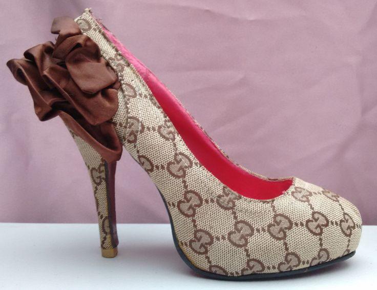 zapatillas gucci textil tacon 11cm talla 23.5cm