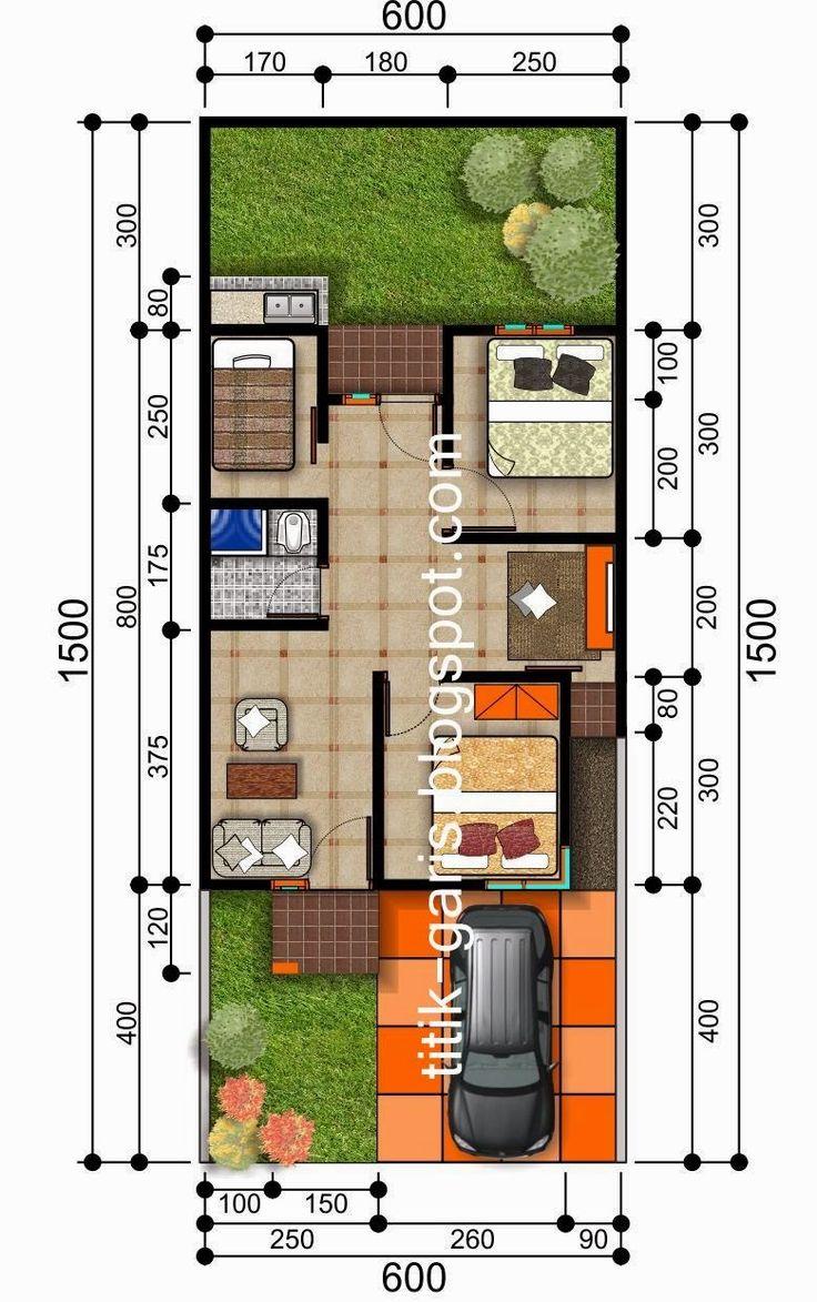 denah rumah tipe 50 m2 sehat