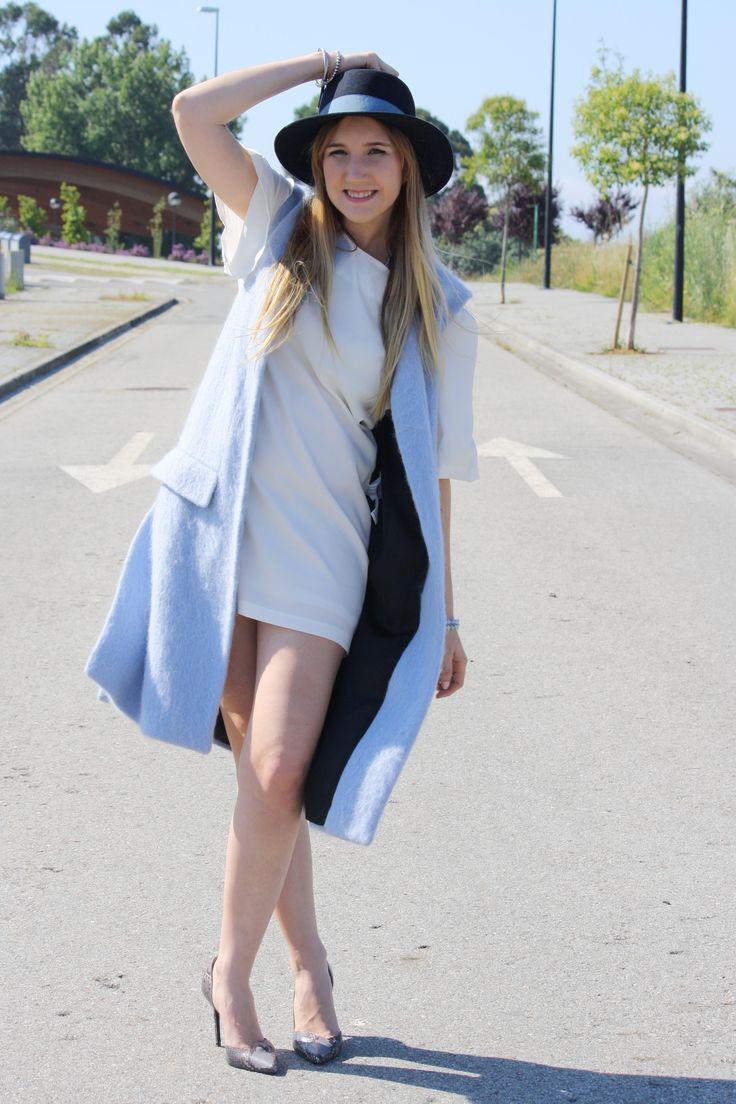 Long blue vest with white dress