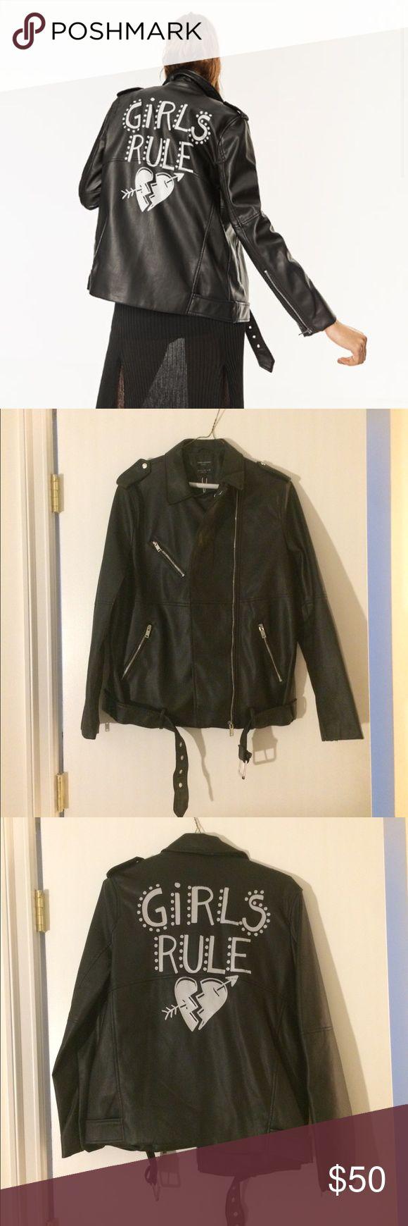 Black Faux Leather Biker Jacket - Girls Rule! Black Faux Leather jacket from Zara.  Brand new super cute, just didn't fit me. Zara Jackets & Coats
