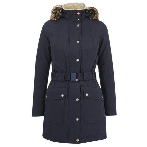Barbour Women's Kirkby Coat - Navy ($455) ❤ liked on Polyvore featuring outerwear, coats, blue, hooded parka coat, navy blue stretch belt, elastic belt, waterproof parka and hooded coats