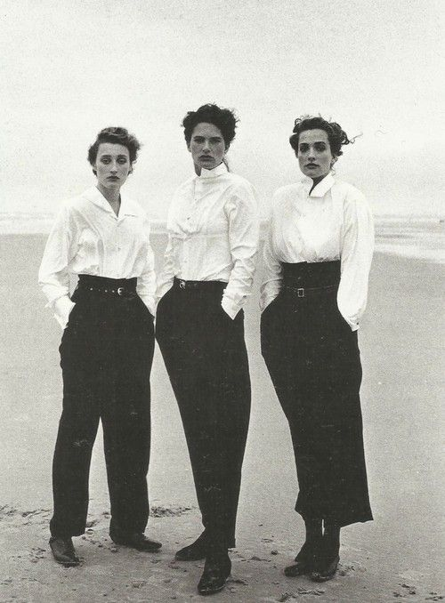 marie sophie wilson, lynne koester and tatjana patitz wearing comme des garçons by peter lindbergh in le touquet, france 1987.