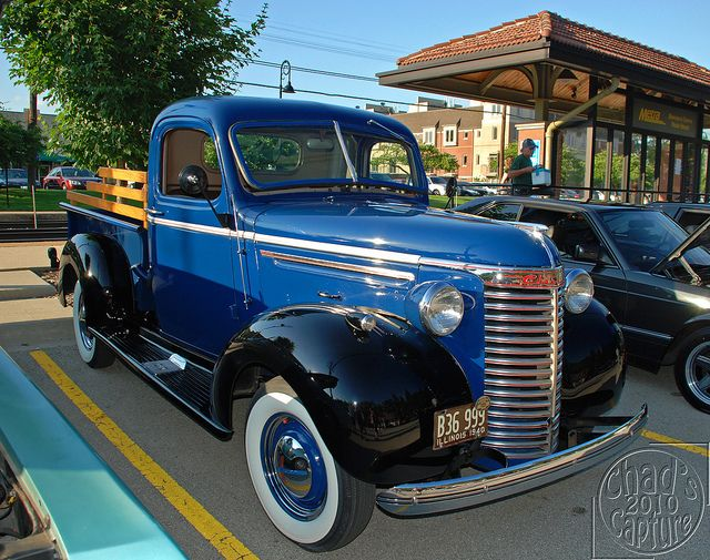 1940 Chevy Truck, we used to have this same year and everything except darker blue. Got rid of it before I could drive. Oh the humanity