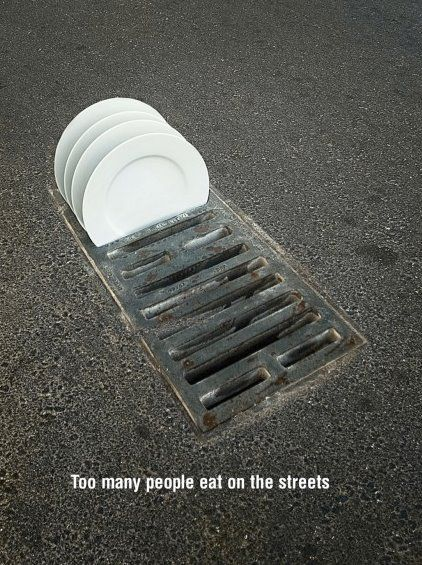 "The call to action and the hook for this PSA is ""To many people eat on the streets."" What is really interesting about this PSA is that the storm drain is acting as a dishwasher for the plates. The target audience of this PSA could range from adolescent children to the elderly. I feel that the whole point of this PSA is to bring awareness to Poverty."