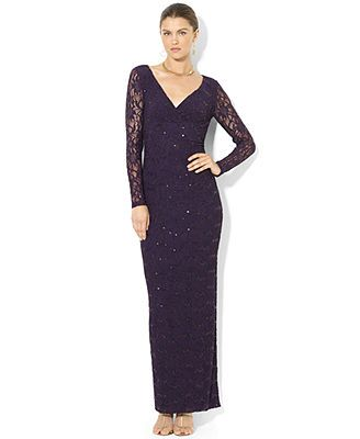 Lauren Ralph Lauren Long-Sleeve Lace Sequin Gown