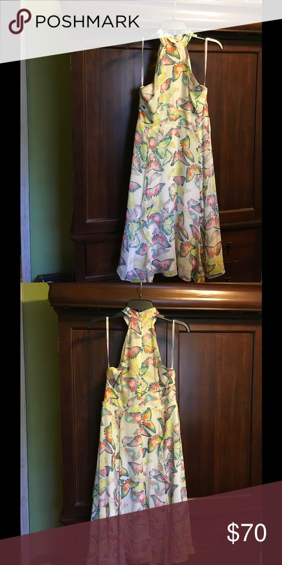 Whistle London Whistle London 100%silk cream color background w/ colorful butterflies 🦋 all over,racerback top of dress zips up back flowybottom w/four ruffle strips down the corners of the skirt..very beautiful n person Whistles Dresses Midi