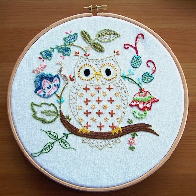 Owl embroidery - example of colors used in the free pattern