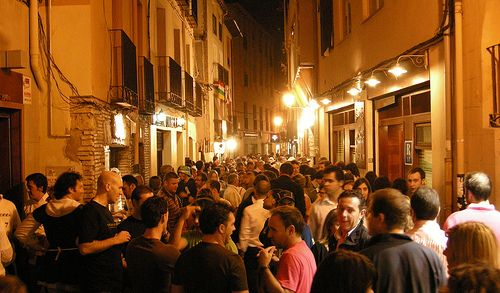 Pintxo's Paradise! Calle Laurel in Logroño! This is what the street typically looks like on a Friday or Saturday night around 10:00pm.