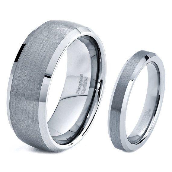 His  Hers Men Women Matching Set Tungsten Carbide Wedding Band Ring ...