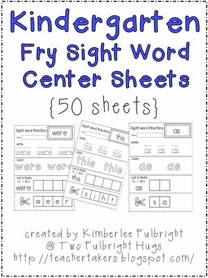 Free Sight Word practice pages
