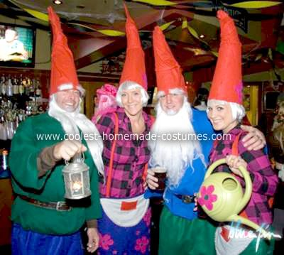 I handmade all four of these Gnome costumes and  we had so much fun out on Halloween in our group costume