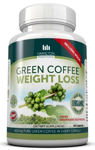 Hamilton Healthcare Organic Green Coffee Bean Weight Loss Supplement, 60 Count