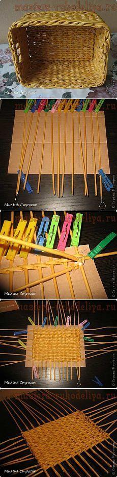 Мастера рукоделия - рукоделие для дома. Бесплатные мастер-классы, фото и видео уроки - Мастер-класс по плетению из газет: Прямоугольное дно: