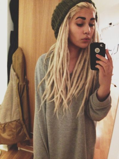 Blonde girl with dread locks soft grunge tumblr